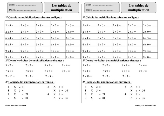valuation table de multiplication ce2 imprimer
