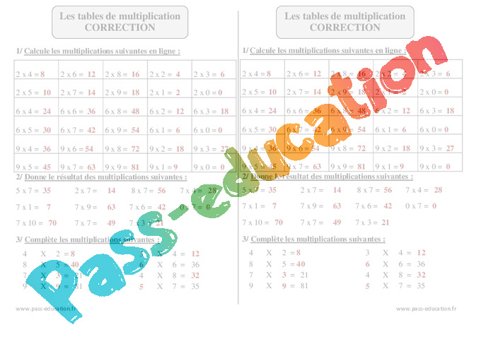 Tables de multiplication ce2 exercices corrig s calcul math matiques cycle 3 pass - Apprendre les tables de multiplication en ligne ...