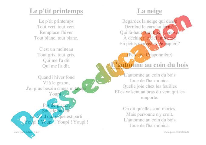 Saisons chants comptines maternelle petite section - Le printemps gs ...