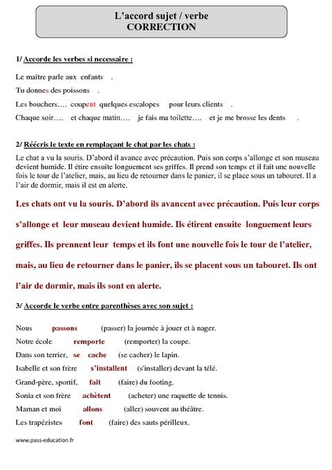 Accord sujet verbe - Cm1 - Exercices corrigés - Pass Education
