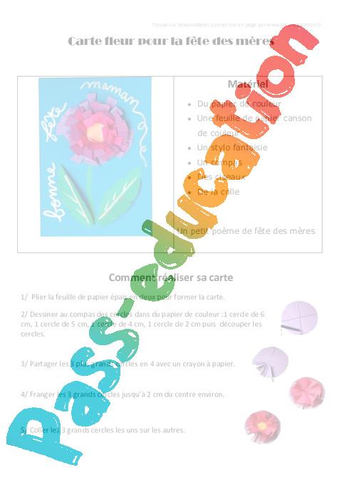 Carte Fleur Pour La Fête Des Mères Fête Des Mères Ce2