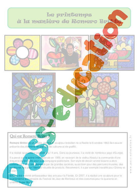 Coloriage Fleur Britto.Printemps A La Maniere De Britto Ce2 Cm1 Cm2 Cycle 3 Pass