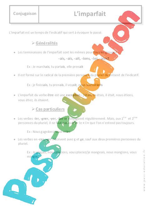 Imparfait - 6u00e8me - Cours - Pass Education