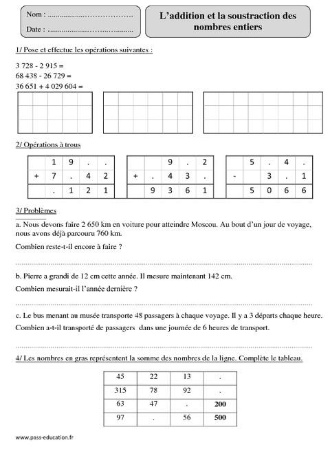 Addition et soustraction des nombres entiers cm2 for Exercice multiplication cm2