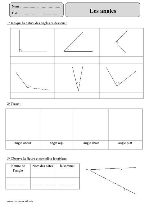 Angles - Cm2 - Exercices corrigés - Géométrie - Mathématiques - Cycle 3 - Pass Education