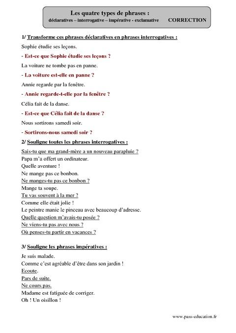 Types de phrases - Déclarative - Interrogative ...
