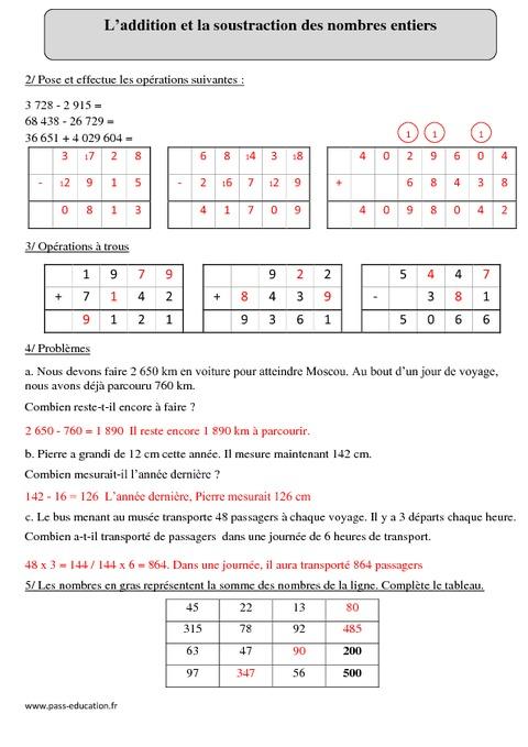 Addition et soustraction des nombres entiers cm2 exercices corrig s calcul math matiques - Calcul nombre de parpaing ...