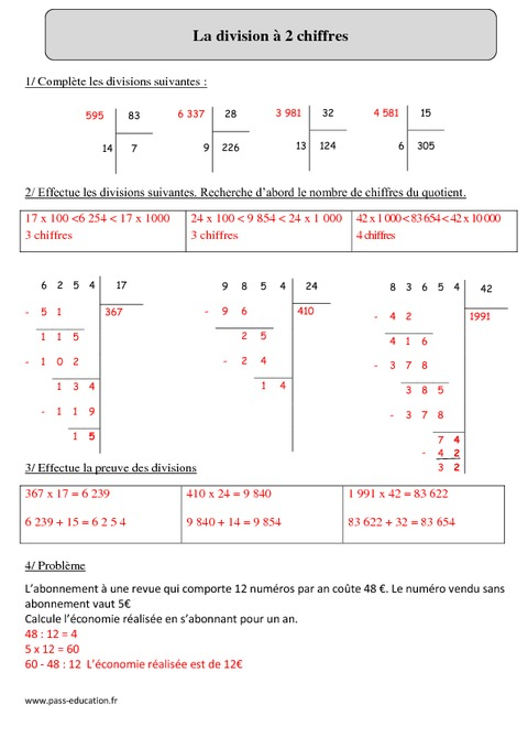 Division 2 chiffres cm2 exercices corrig s calcul - Exercices tables de multiplication cm2 ...