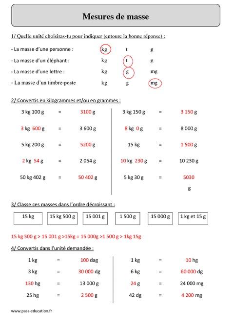 Mesures de masse - Cm2 - Exercices corrigés - Mesures et ...