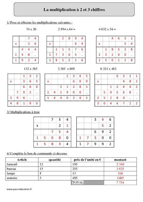Multiplication 2 et 3 chiffres cm2 exercices for Table de multiplication cm2
