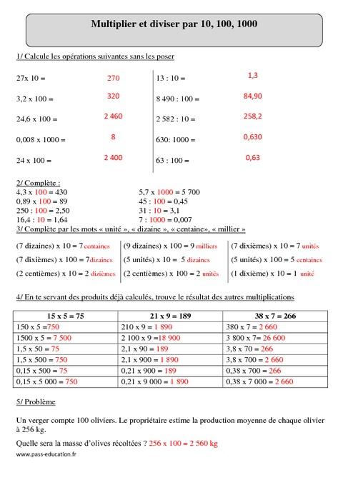 Multiplier ou diviser par 10 100 1000 cm2 exercices for Les multiplications cm2
