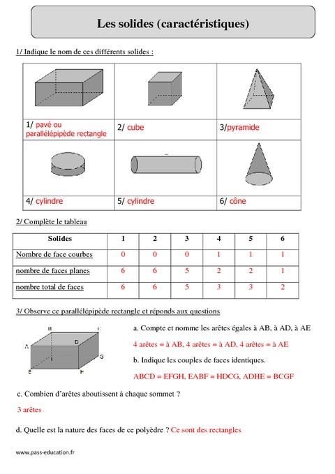 Solides - Cm2 - Exercices corrigés - Géométrie ...