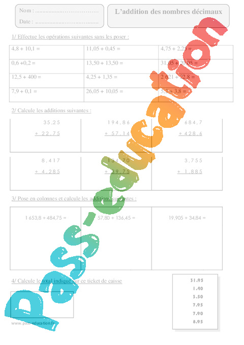 Addition des nombres d cimaux cm2 exercices corrig s for Exercice multiplication cm2