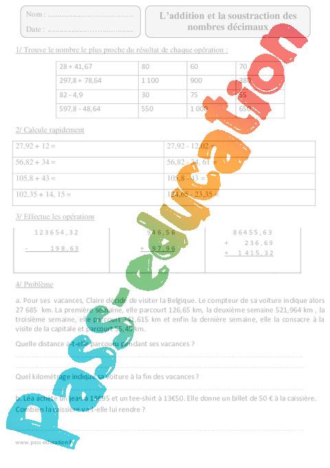 Addition et soustraction des nombres d cimaux cm2 for Exercice multiplication cm2