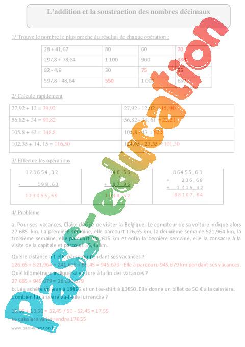 Addition et soustraction des nombres d cimaux cm2 exercices corrig s calcul - Calcul nombre de parpaing ...