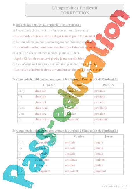cbeede112 Imparfait de l'indicatif – Cm2 – Exercices corrigés – Conjugaison ...