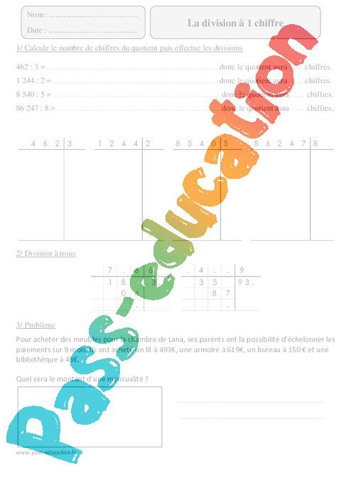 Division 1 chiffre cm2 exercices corrig s calcul math matiques cycle 3 pass education - Division a imprimer ...