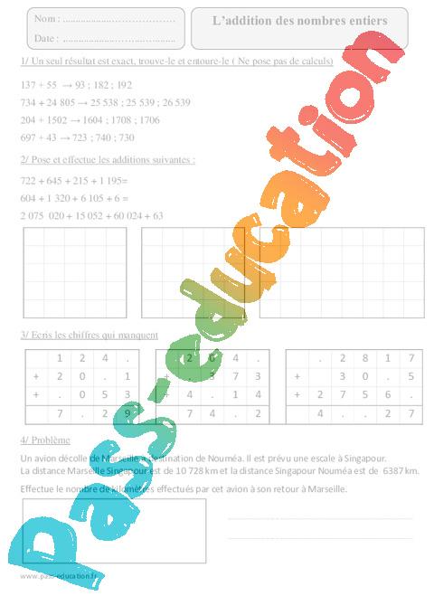 Addition des nombres entiers cm2 exercices corrig s calcul math matiques cycle 3 pass - Calcul nombre de parpaing ...