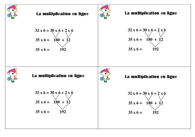 Multiplication en ligne ce1 le on pass education - Table de multiplication en ligne ...