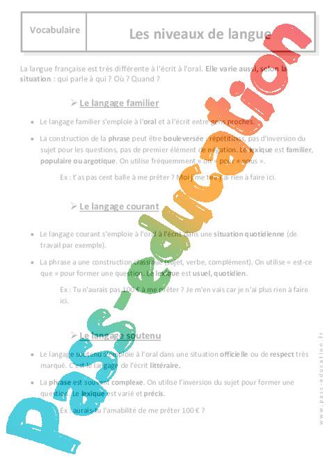 niveaux de langue  u2013 6 u00e8me  u2013 cours - langage familier  soutenu  courant