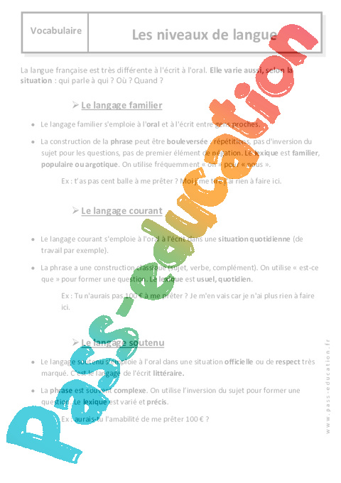 niveaux de langue  u2013 6 u00e8me  u2013 cours