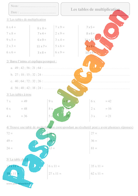 Tables de multiplication cm2 exercices corrig s calcul math matiques cycle 3 pass - Exercices tables multiplication ...