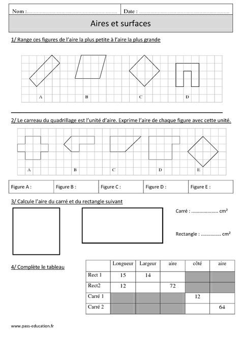 Aires – Surfaces – Mesures et calculs – Cm1 – Exercices ...