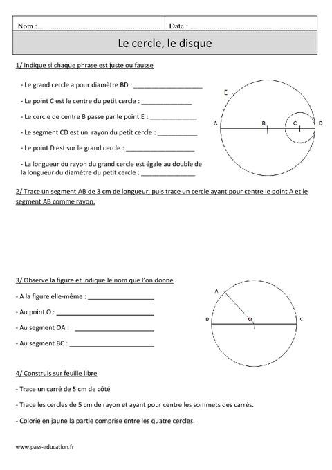 Cercle - Disque - Cm1 - Exercices corrigés - Géométrie - Mathématiques - Cycle 3 - Pass Education