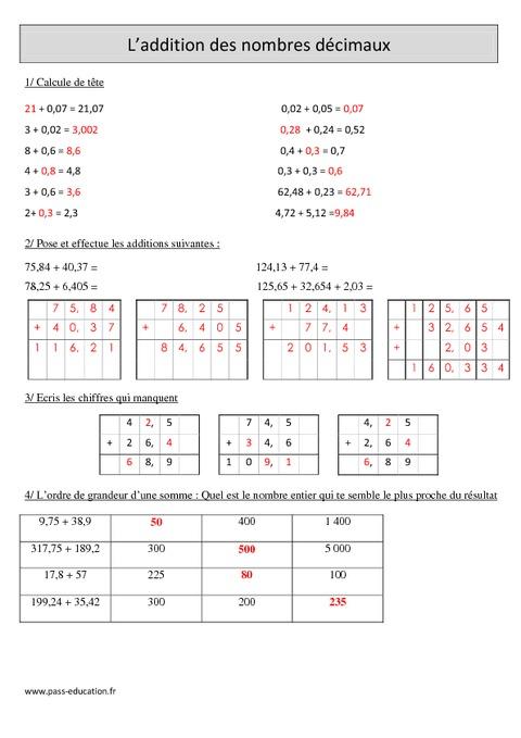 Addition des nombres d cimaux cm1 exercices corrig s calcul math matiques cycle 3 - Calcul nombre de parpaing ...