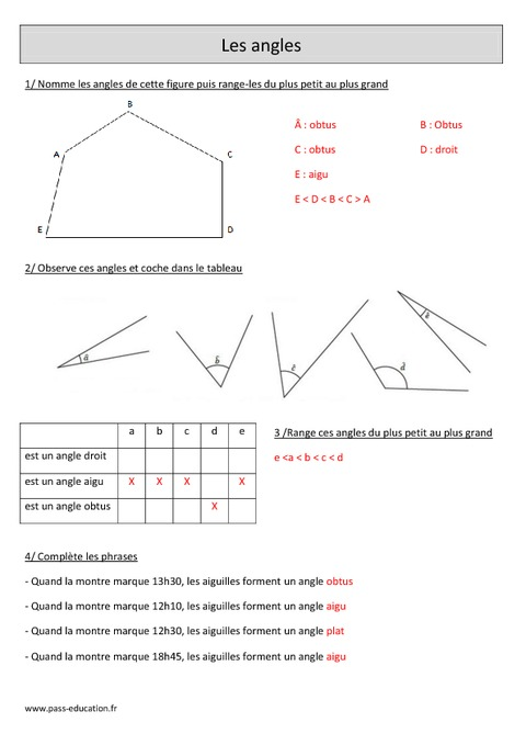 angles cm1 exercices corrig s g om trie math matiques cycle 3 pass education. Black Bedroom Furniture Sets. Home Design Ideas