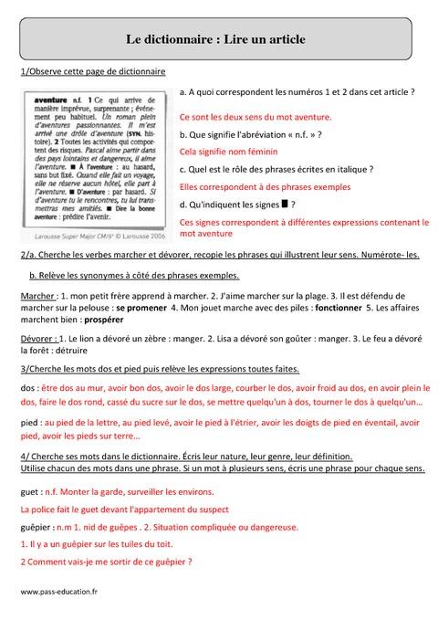 dictionnaire lire un article cm2 exercices corrig s vocabulaire cycle 3 pass education. Black Bedroom Furniture Sets. Home Design Ideas