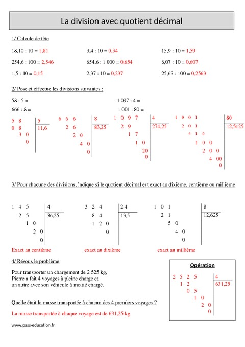 Division avec quotient décimal - Cm1 - Exercices corrigés ...