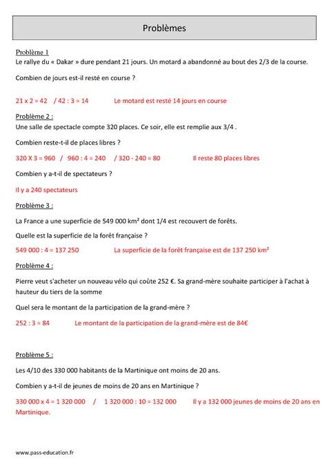 Fractions - Problèmes - Cm1 - Exercices corrigés - Mathématiques - Cycle 3 - Pass Education