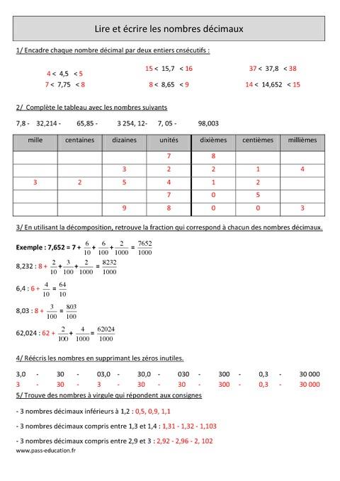 Lire et crire les nombres d cimaux cm1 exercices - Tableau pour ecrire ...