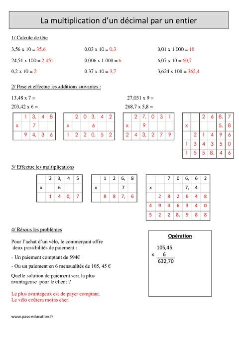 Multiplication d 39 un d cimal par un nombre entier cm1 exercices corrig s calcul - Calcul nombre de parpaing ...