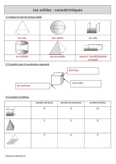 Solides: Caractéristiques - Cm1 - Exercices corrigés ...