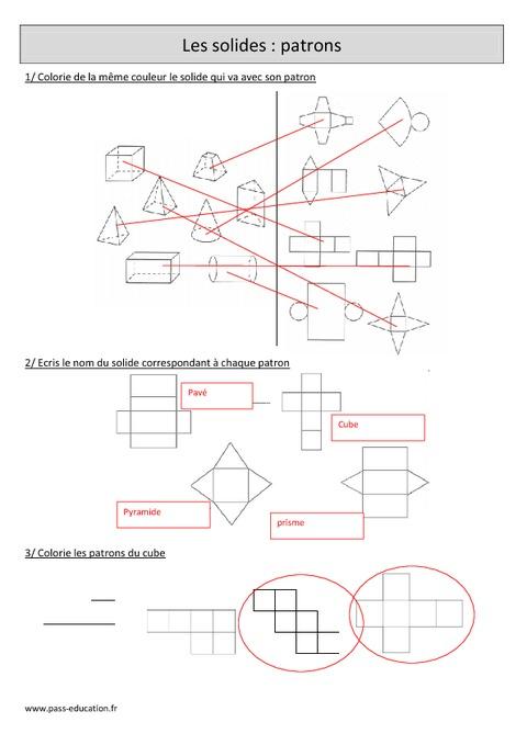 Solides - Patrons - Cm1 - Exercices corrigés - Géométrie - Mathématiques - Cycle 3 - Pass Education