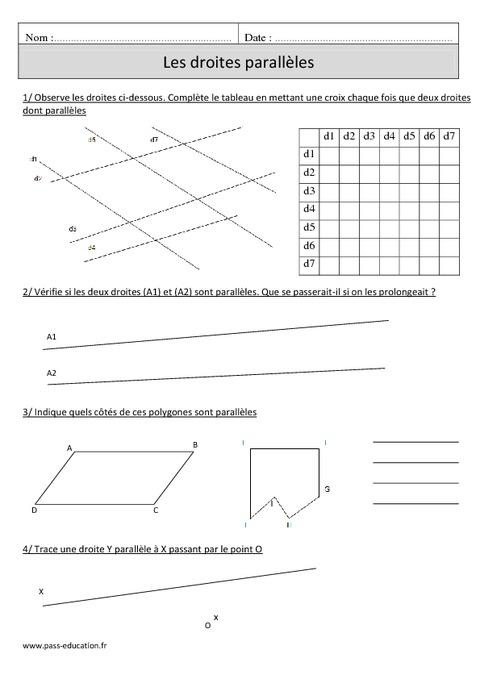 Droites parallèles - Cm1 - Exercices corrigés - Géométrie ...