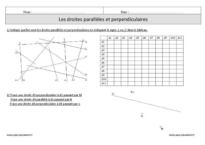 Droites perpendiculaires - Droites parallèles - Cm1 - Exercices corrigés - Pass Education