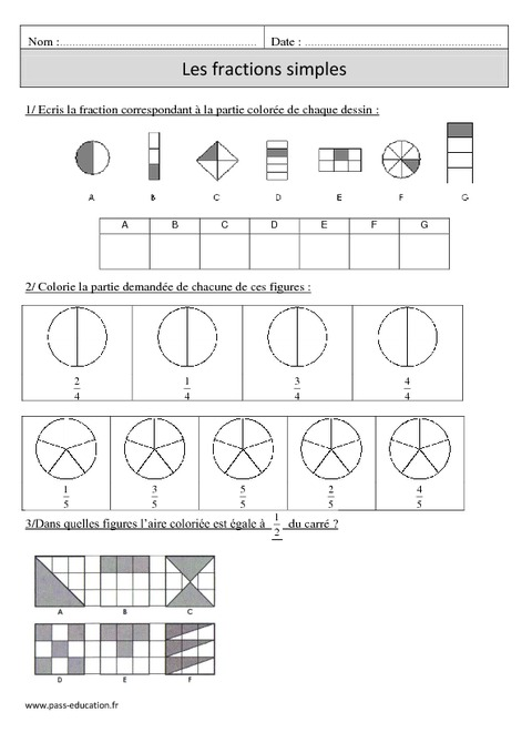 Fractions simples cm1 exercices corrig s num ration math matiques cycle 3 pass education - Fractions cm1 exercices a imprimer ...
