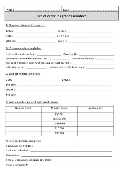 Lire et écrire les grands nombres - Cm1 - Exercices corrigés - Numération - Mathématiques ...