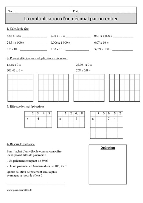 Multiplication d 39 un d cimal par un nombre entier cm1 - Evaluation tables de multiplication cm1 ...