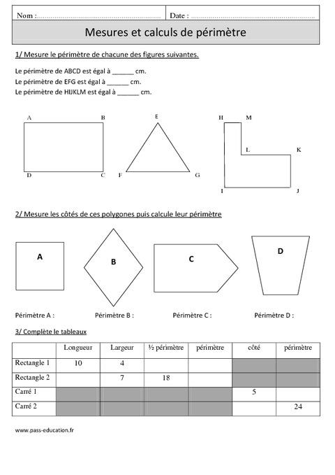 P rim tres mesures et calculs cm1 exercices math matiques cycle 3 pass education - Calculer des metre carre ...