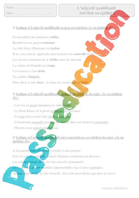 Adjectif qualificatif - Attribut ou épithète - Cm2 ...