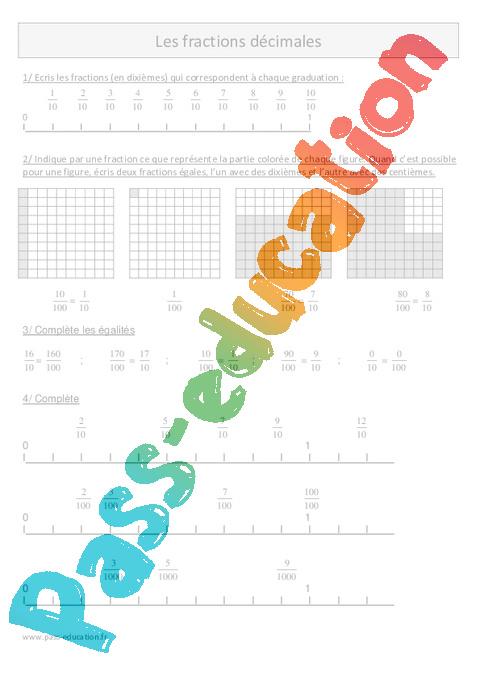 Fractions décimales - Cm1 - Exercices corrigés - Numération - Mathématiques - Cycle 3 - Pass ...