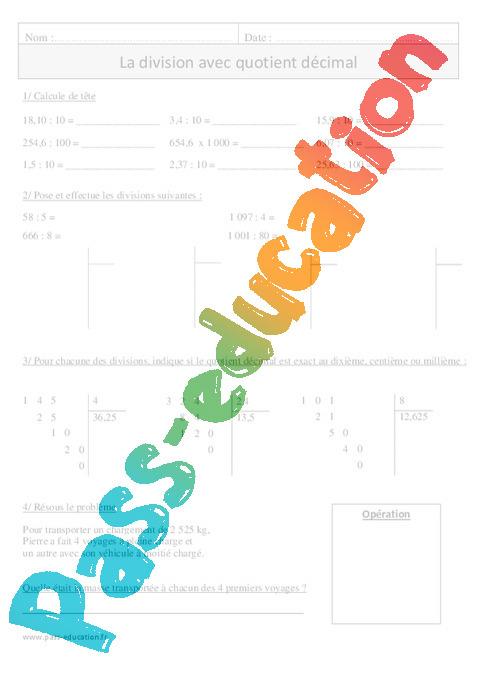 Division avec quotient d cimal cm1 exercices corrig s - Calcul cm1 a imprimer ...