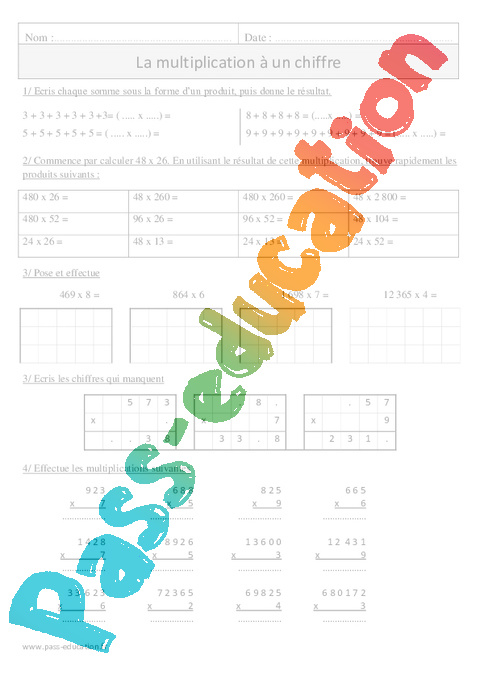 Multiplication 1 chiffre sens cm1 exercices - Evaluation tables de multiplication cm1 ...