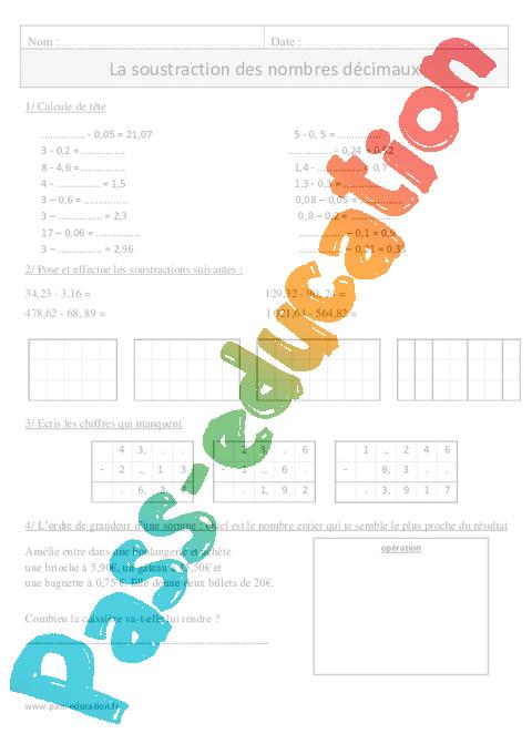 Soustraction des nombres d cimaux cm1 exercices - Calcul cm1 a imprimer ...