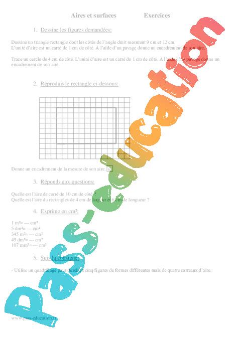 Surfaces - Aires - Mesures - Cm1 - Exercices - Mathématiques - Cycle 3 - Pass Education