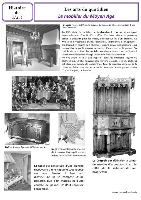 Mobilier Du Moyen Age Arts Du Quotidien Cm1 Histoire